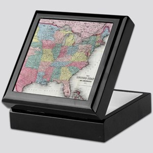 Vintage United States Map (1853) Keepsake Box